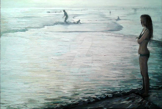Seascape with girl