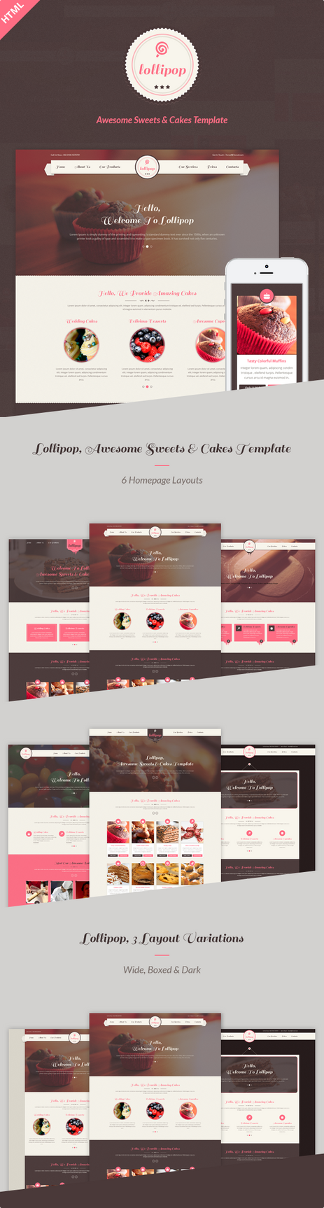 lollipop awesome sweets cakes html template by bonanzazone on deviantart. Black Bedroom Furniture Sets. Home Design Ideas
