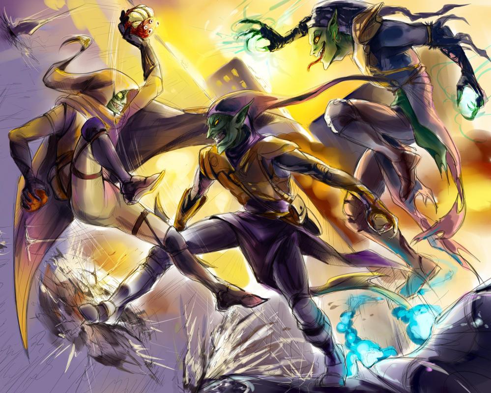 (Marvel) Hobgoblin,  Green Goblin 1 and 2 by ananovik