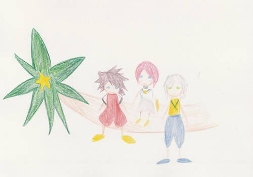 Three friends and a paopu tree