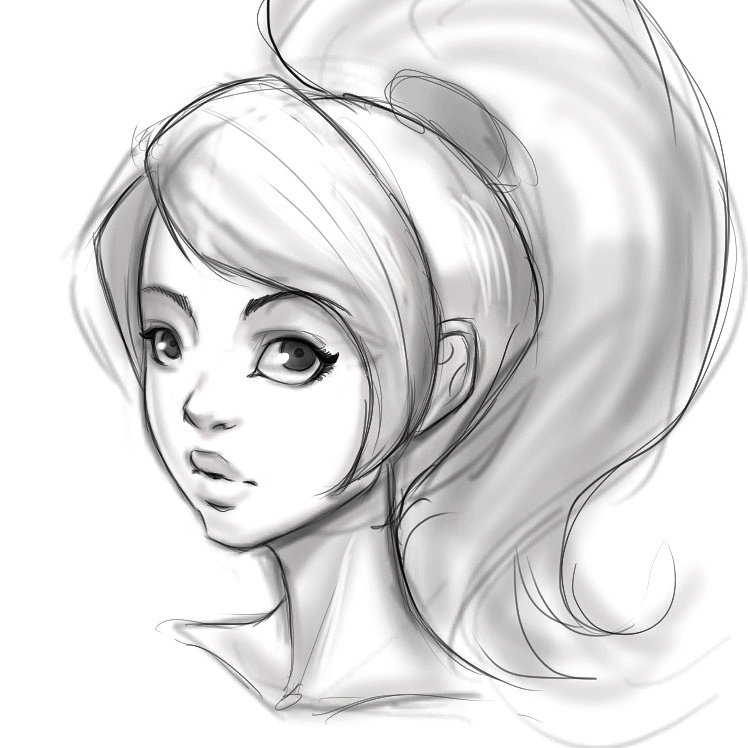 Girl face sketch by ZapFrogArt on DeviantArt
