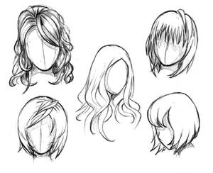 Manga hair reference sheet 1 - 20130112