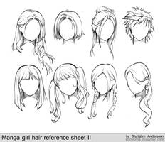 manga girl hair reference sheet II - 20130113 by StyrbjornAndersson
