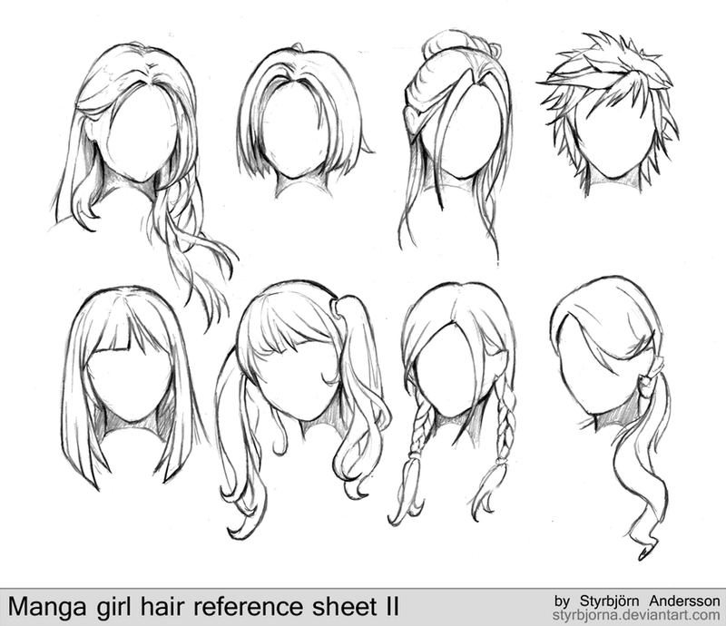 Manga girl hair reference sheet ii 20130113 by rinfaye