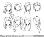 manga girl hair reference sheet II - 20130113
