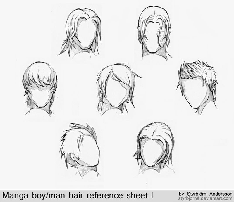 Manga boy/man hair reference sheet I by StyrbjornAndersson