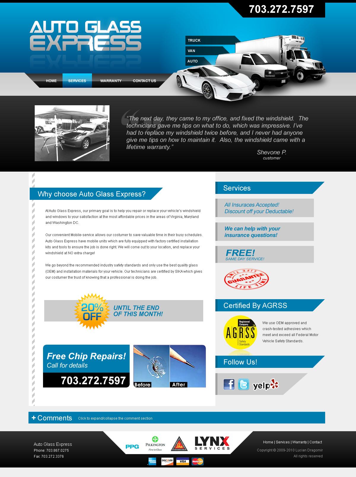 Auto Glass Express Website by dFEVER