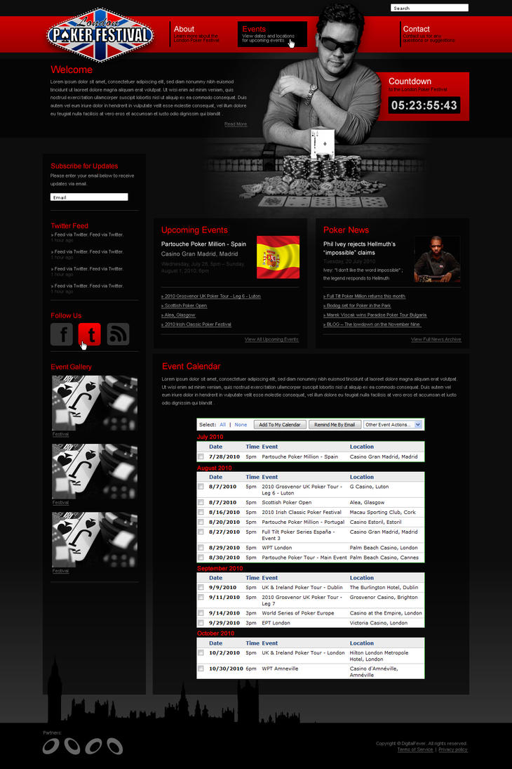 Poker Festival UK Web Design by dFEVER