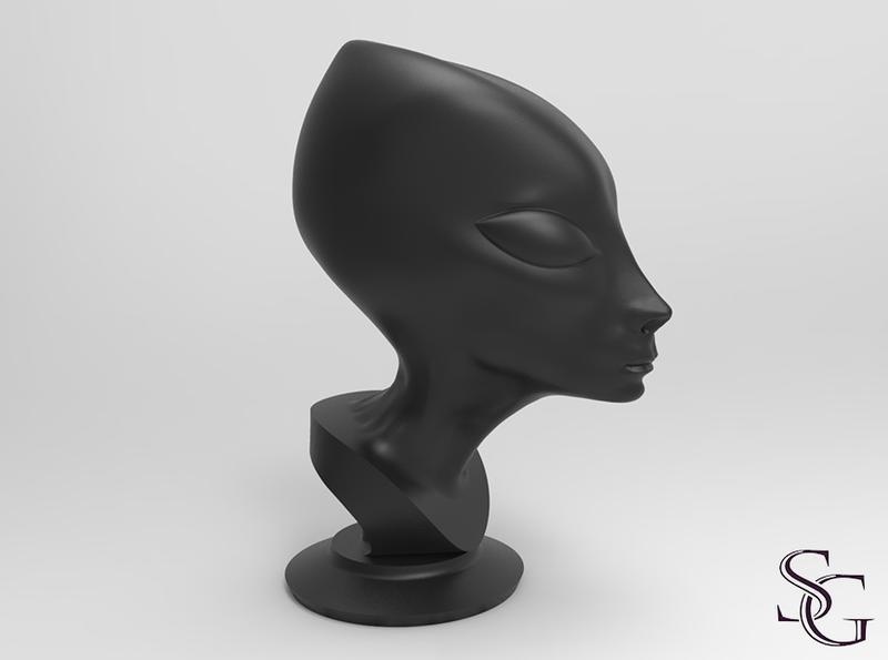 Alien bust by migrainboy