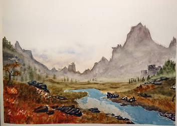 Watercolor Dragon Age Scene by 93Oasys