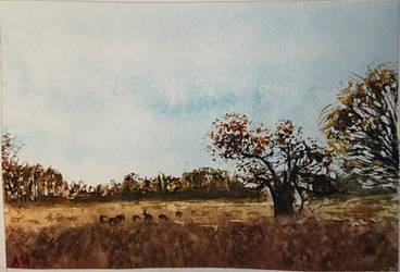 Miniature Watercolor Landscape by 93Oasys