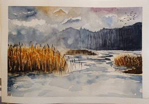 Frozen Lake Watercolor