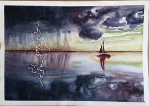 Stormy Sea Watercolor