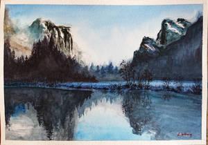 Watercolor Mountainscape