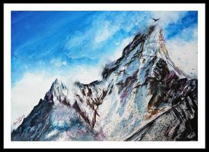 Snowy Mountain in Watercolor