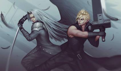 Cloud Strife vs Sephiroth by Kazbekulka