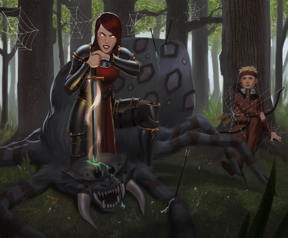 cassandra_and_eddie_vs_monster_spider_by