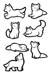 Sticker Wolves Lineart