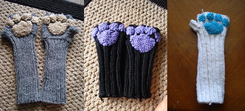 Knitted Cat/Dog Arm Warmers/Fingerless Gloves by Elmira-san