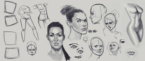 Female Practice - Face, Body, Eyes, Mouth and Nose by X2X0-Art
