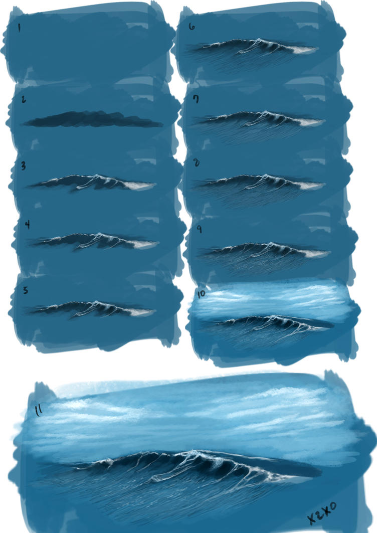 Painting waves by x2x0 art on deviantart for Painting on water tutorial