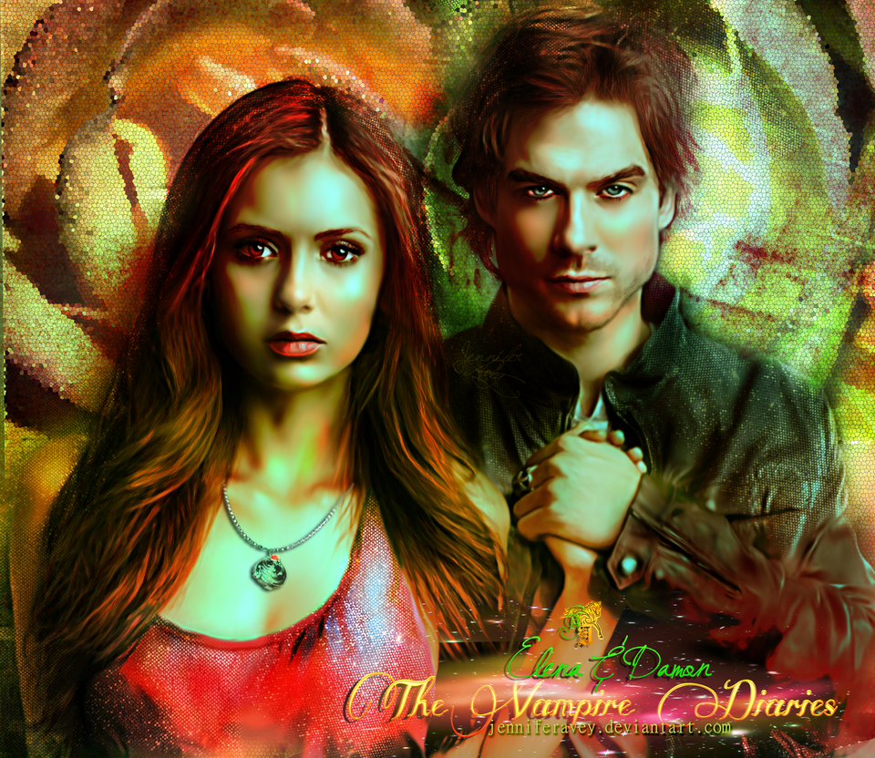 Damon and Elena, The Vampire Diaries: Mean't by JenniferMunswami
