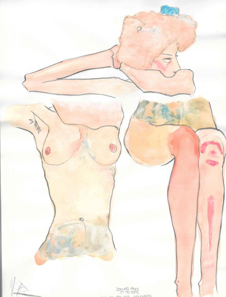 Studies Of A Painting Of Schiele. by NadAlei