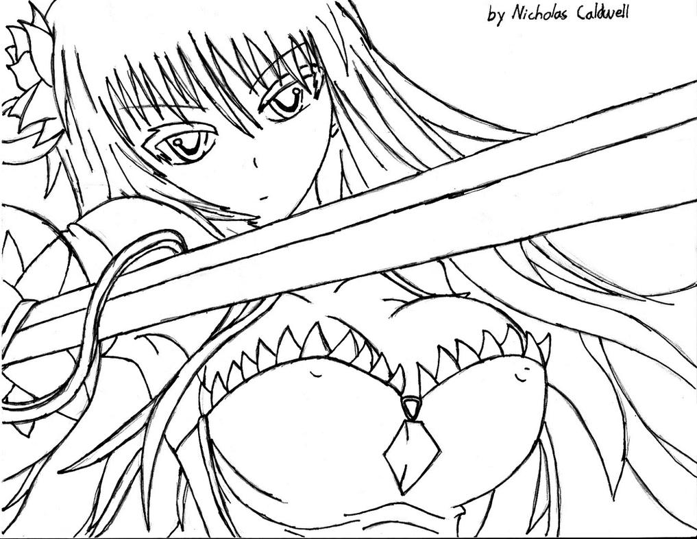 Anime Female Warrior Coloring Pages