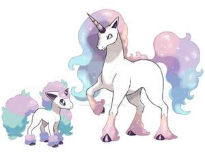 Galarian Ponyta and Rapidash