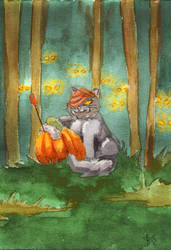 Halloween Postcards | Wild Pumpkin Hunt by Soukyan