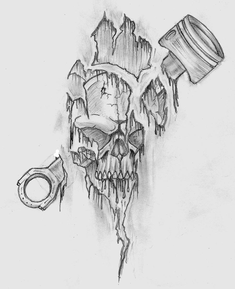 Skull Piston Drawing Skull Piston Tattoo Design