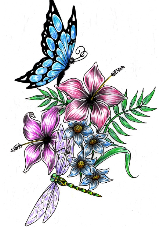 Dragonfly Buterfly Flower Design By Shadow3217 On Deviantart
