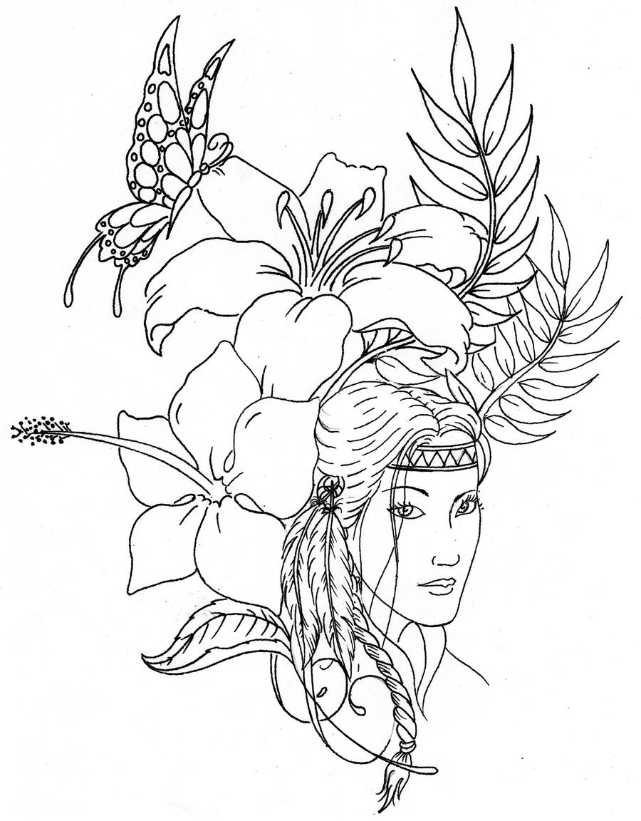 indian coloring pages for thanksgiving - native american design by shadow3217 on deviantart