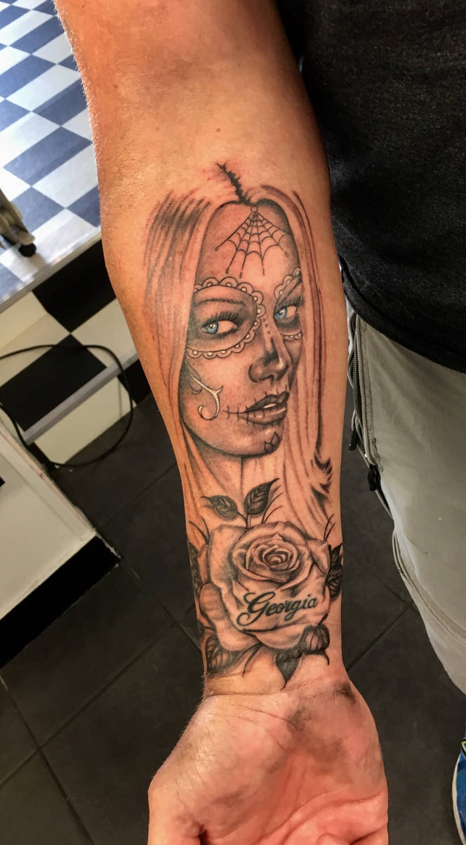 Day of the dead woman and rose