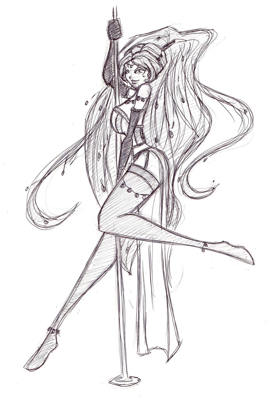 pole dance sketch by ladyastrogah on deviantart