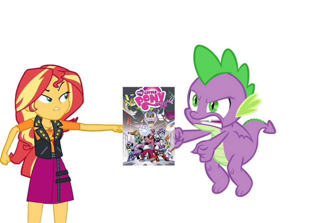 sunset_and_spike_fight_over_a_comic_book