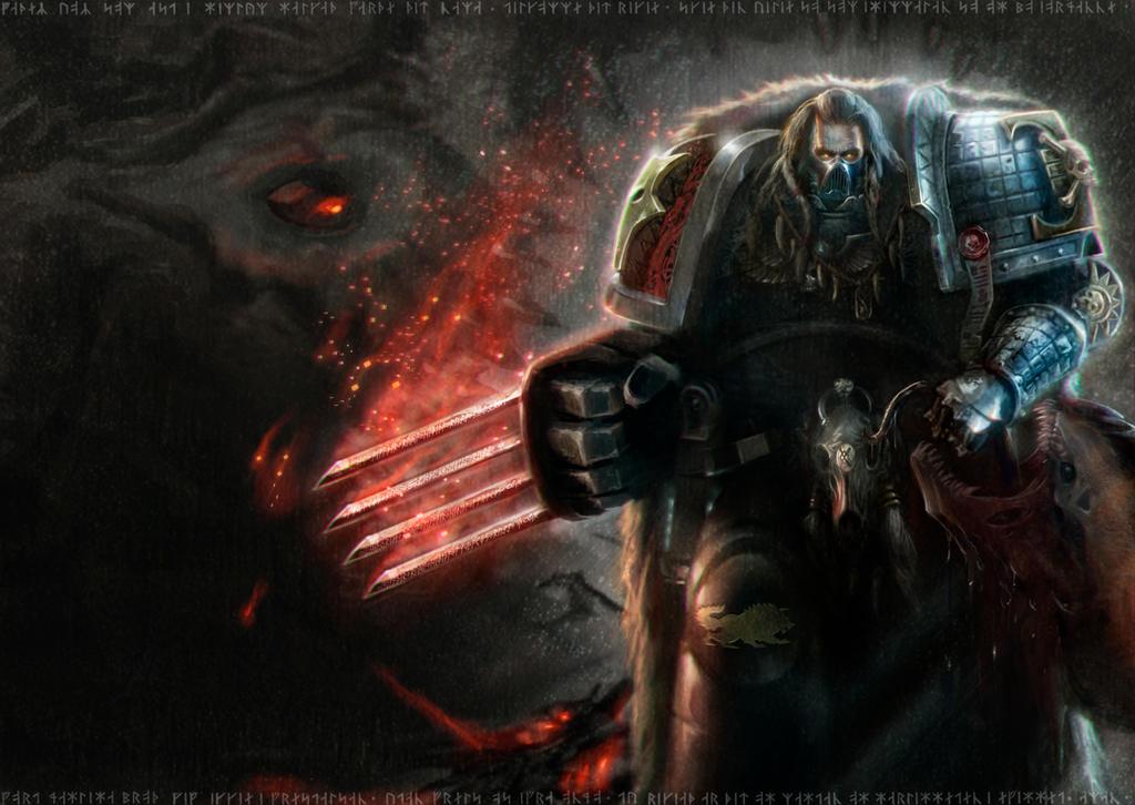 DeathWatchSpaceWolf-Kalmakk by DavidSondered