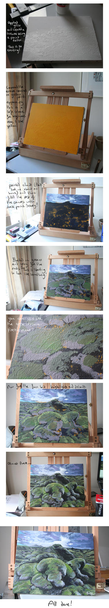 Acrylic painting with gesso texture - Process by SaskiaDeKorte