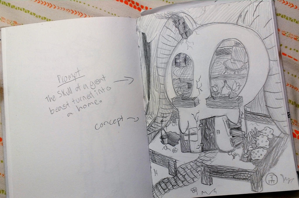 Beast Skull House Sketch by Espy26