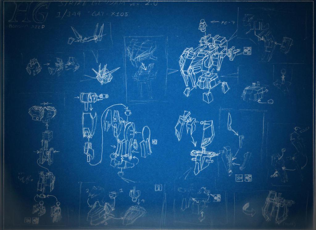 HG 1/144 Strike Gundam ver.2.0 Blueprints by CLeRu087