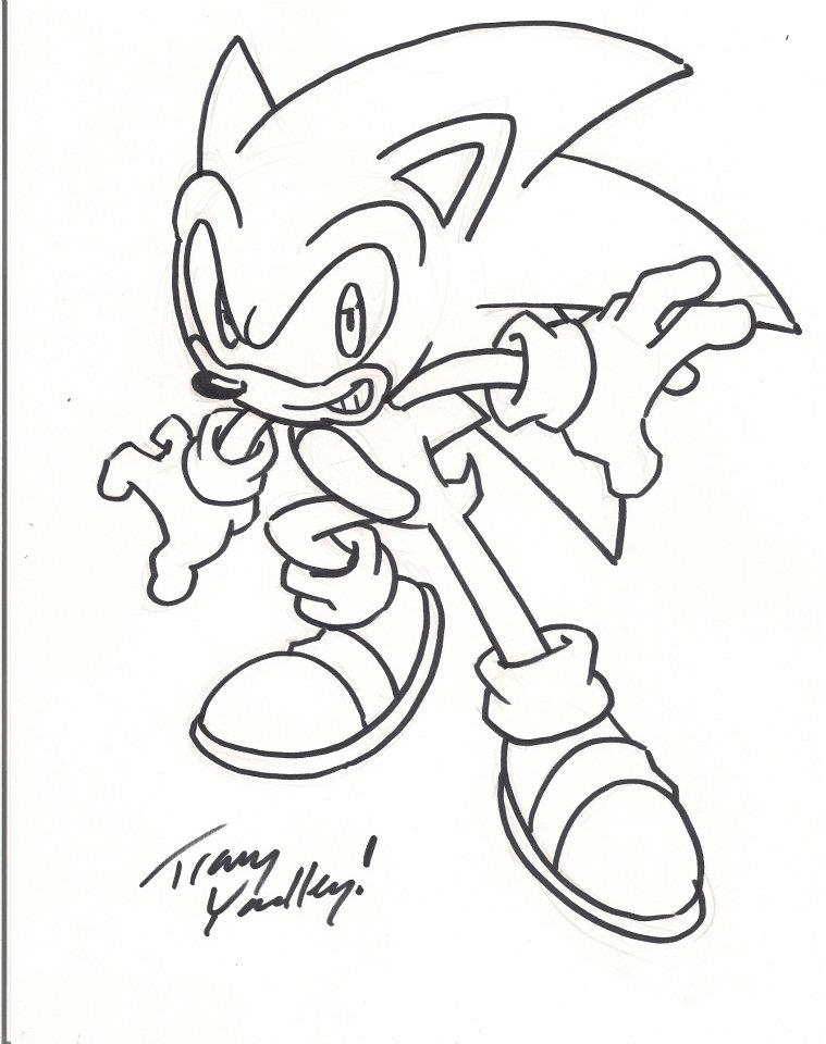 sonic autograph sharpie drawing by tracy yardley by