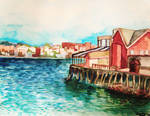 Boston Harbor watercolor study