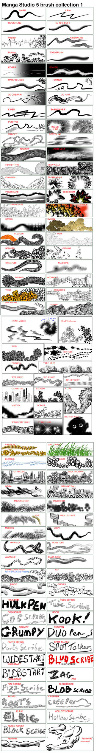 CLIP STUDIO  Brushes and Actions - collection 1 by 888toto