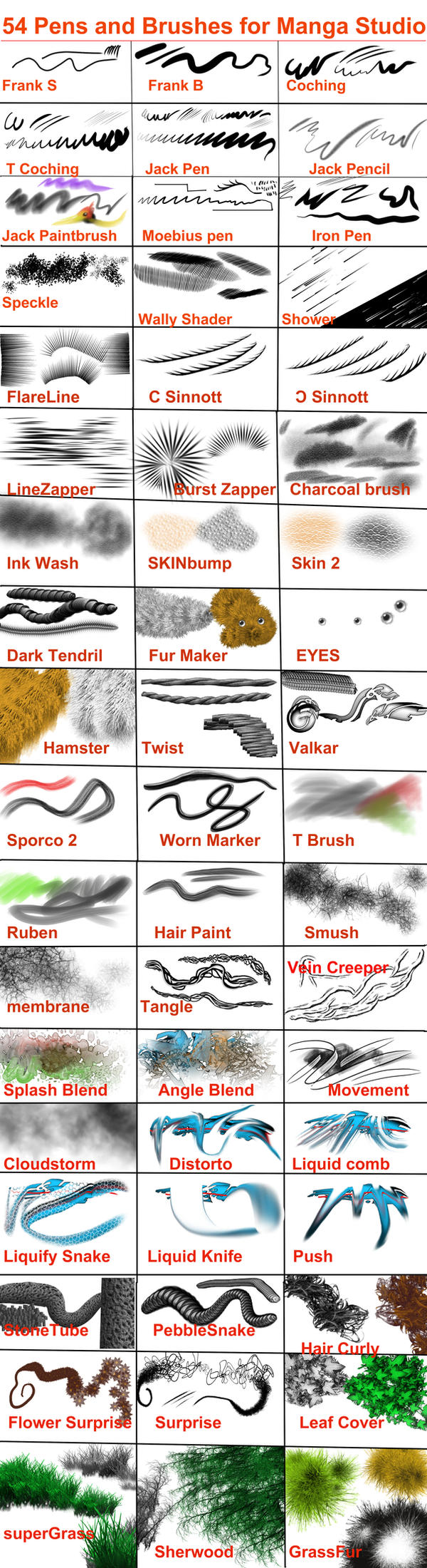 Manga studio downloadable brushes collection by toto