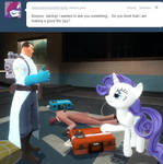 Medic answers Rarity's question