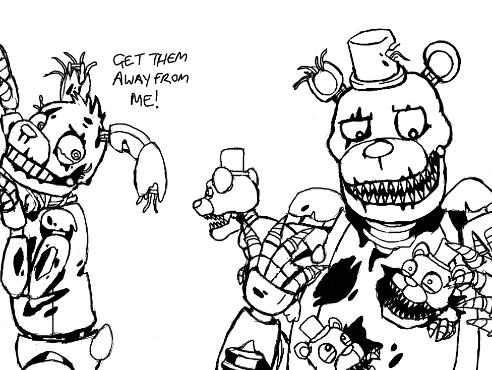 Fnaf world free colouring pages for Fnaf coloring pages nightmare