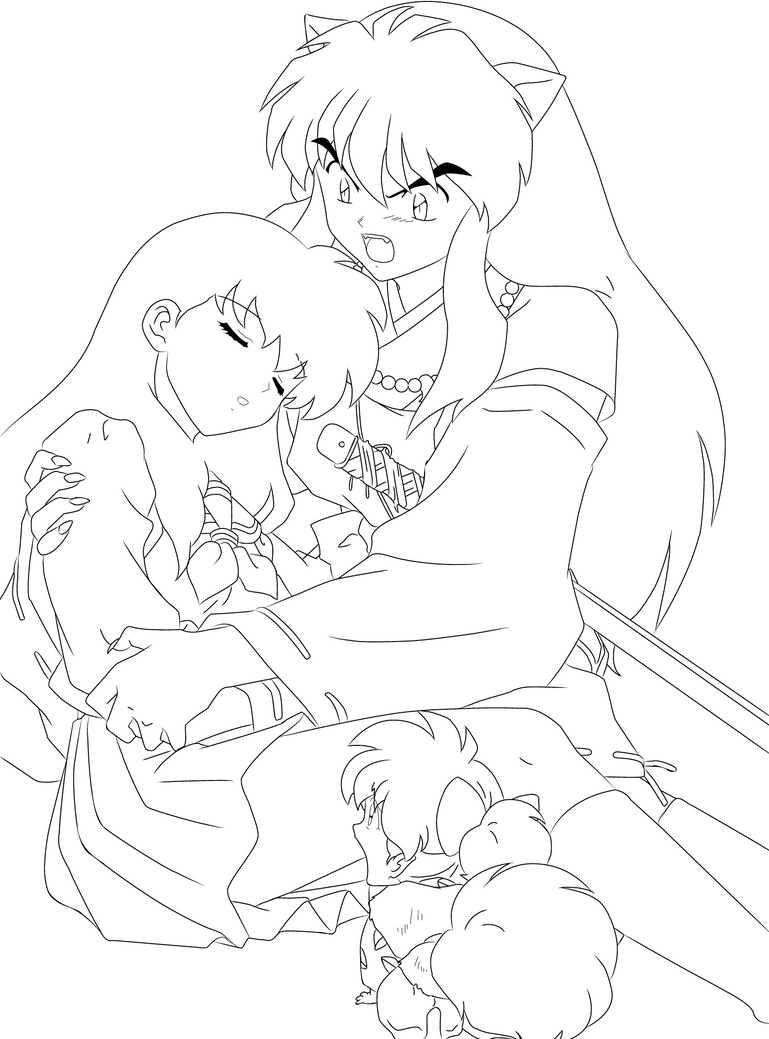 Inuyasha And Kagome Coloring Pages Sketch Page