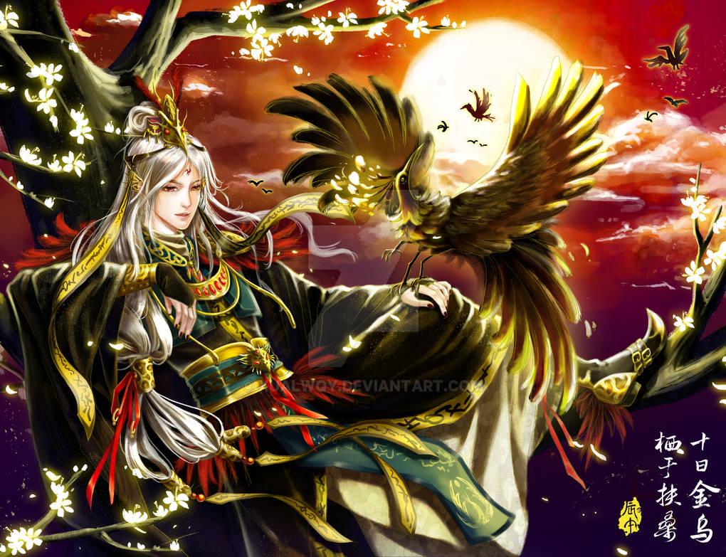 Jin Wu, three legged crow, Chinese God of the sun by Xualwqy