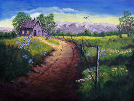 Little House on the Prairie - acrylic painting by Giselle-M