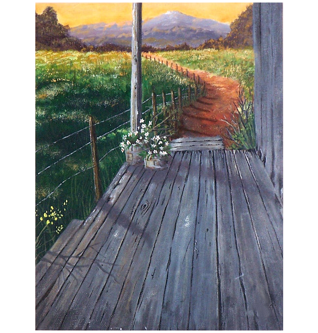 Sunset Porch - acrylic painting